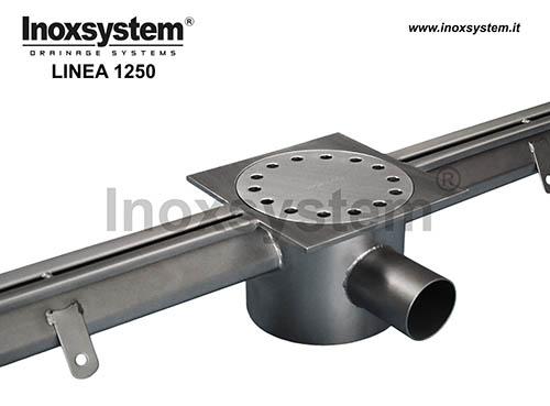 Canales con ranura anti tacón en acero inoxidable con sumidero en placa bajo salida sifonada y filtro extraíble