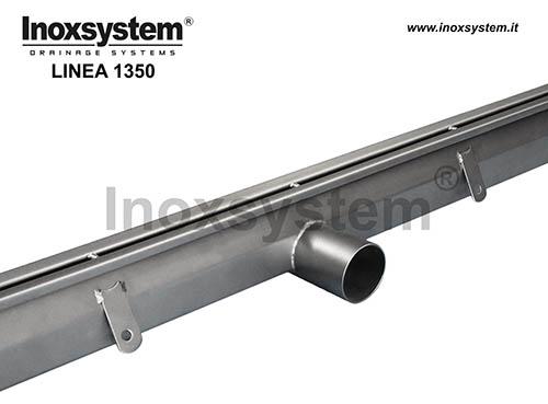 Canales con ranura anti tacón en acero inoxidable sin inspección con salida directa
