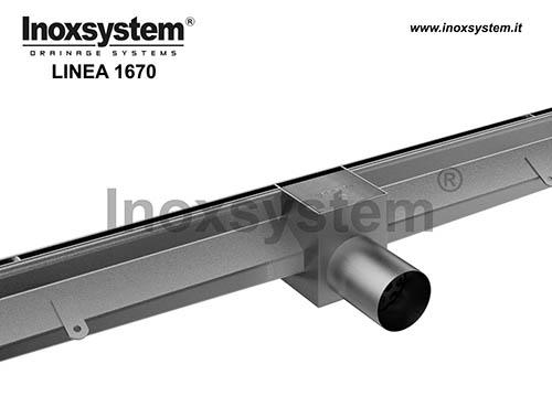 Canal ranura lateral bordes rectos verticales y elemento de inspección en acero inoxidable