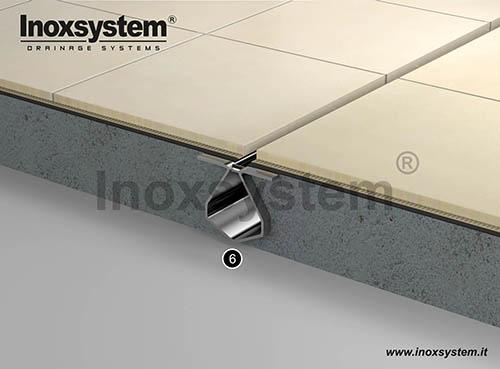 Canale a fessura standard con bordi satinati a vista in acciaio inox