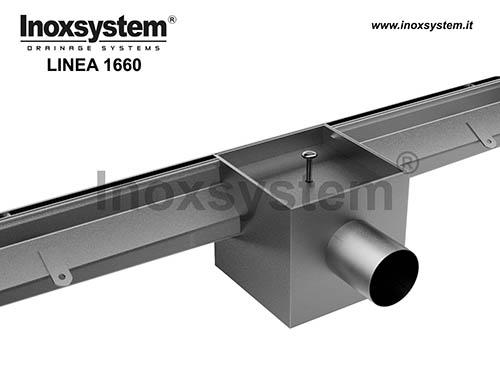 Canali con fessura bordi dritti verticali laterali e chiusino con copertura pavimentabile a scarico sifonato in acciaio inox