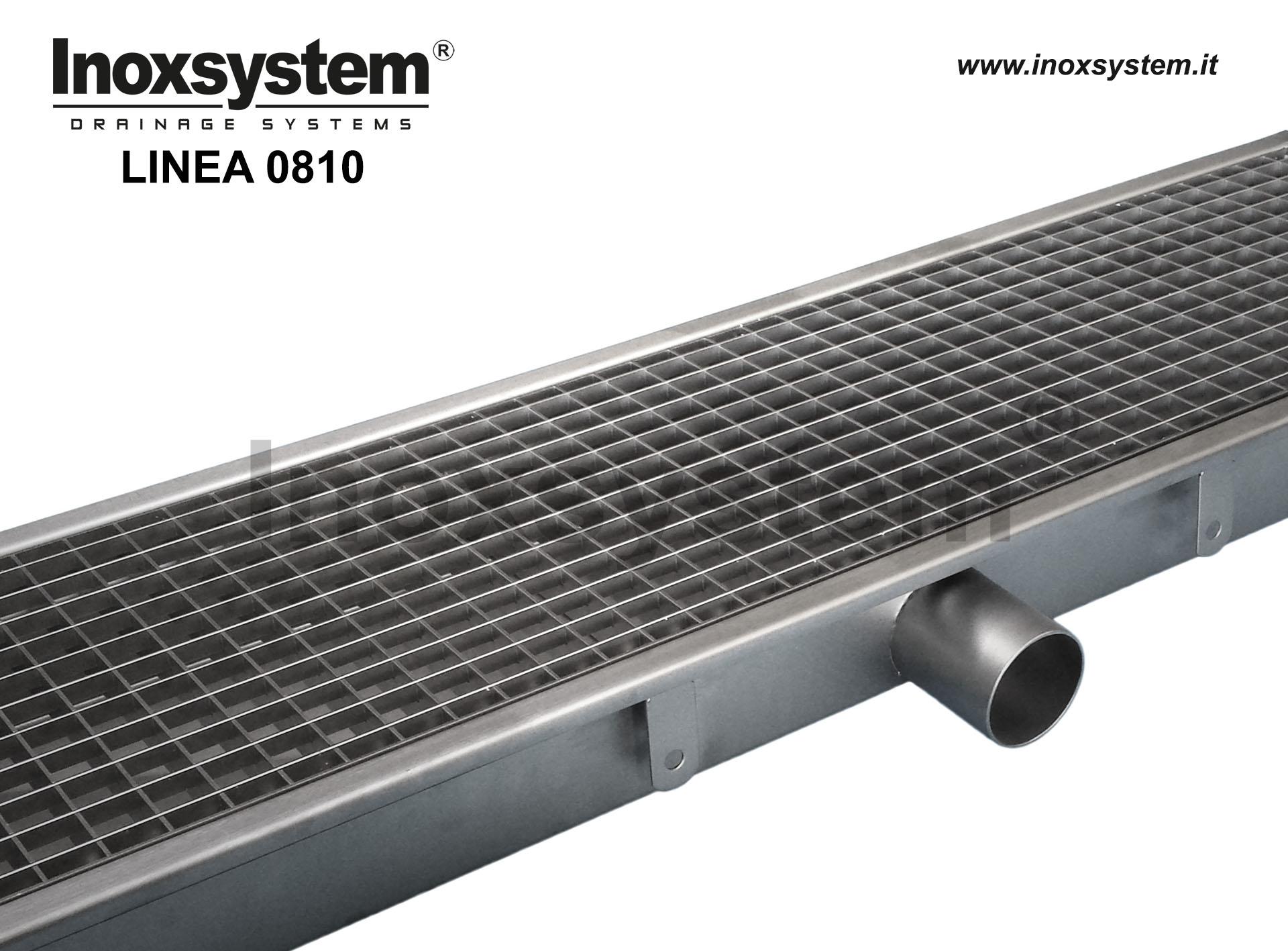 Canali in acciaio inox a griglia standard con scarico diretto non sifonato e cestello estraibile
