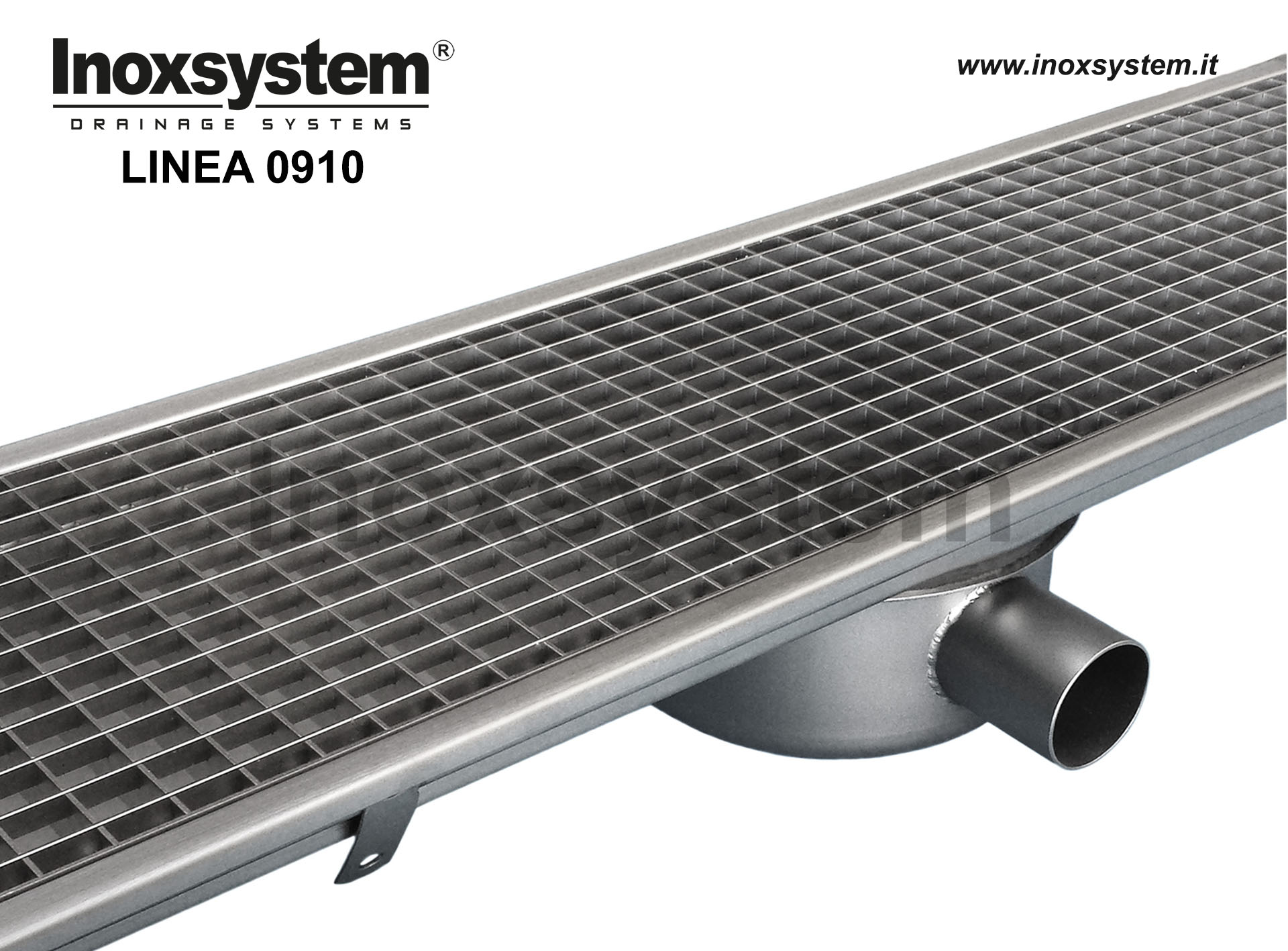 Canali in acciaio inox a griglia standard con pozzetto sifonato