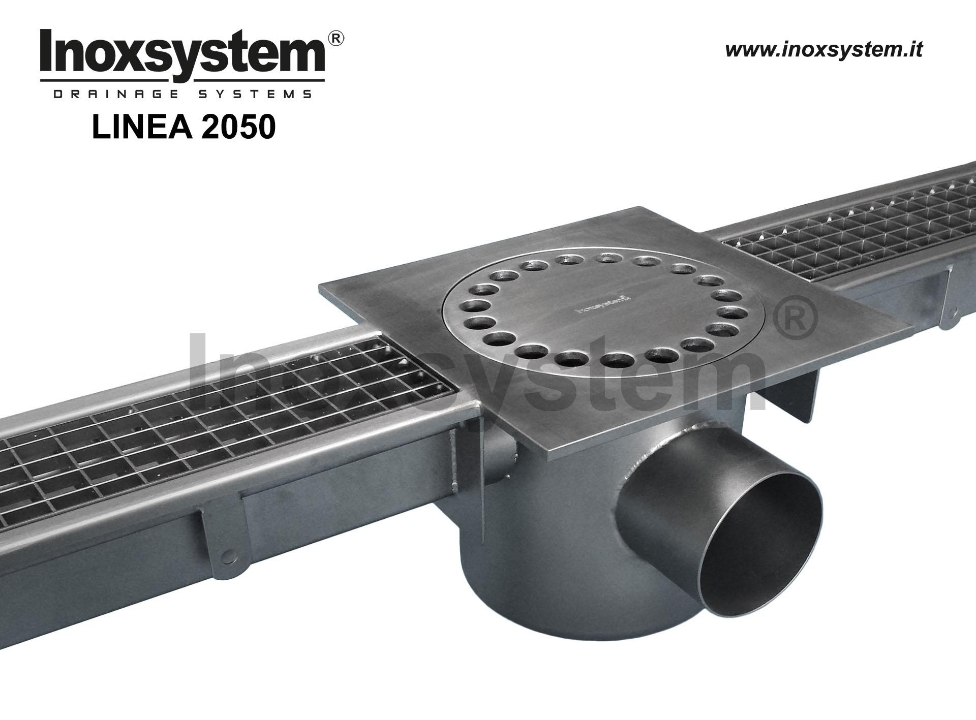 Canali in acciaio inox a griglia standard con chiusino in piastra sifonato e cestello estraibile