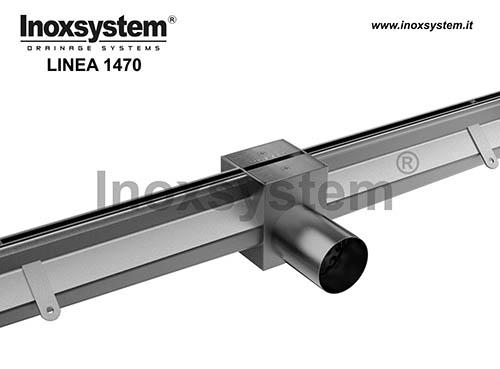 Caniveau à fente avec élément d'àccess, sortie directe et grille satinée en acier inoxydable