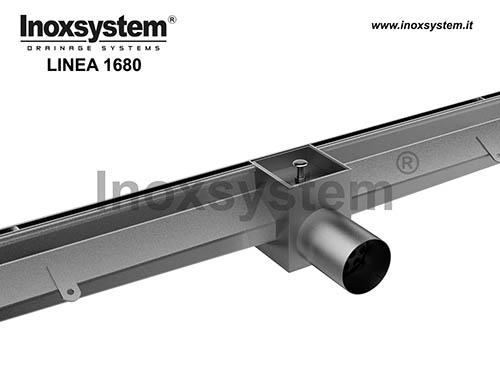 Caniveau à fente latérale bords droits verticaux, sortie directe et grille à paver en acier inoxydable