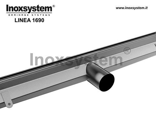 Caniveau à fente latérale avec bords droits verticaux et sotie directe en acier inoxydable
