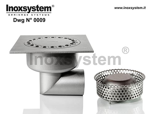 Standard and lowered floor drains with horizontal outlet removable filter basket before siphoning DWG 0009