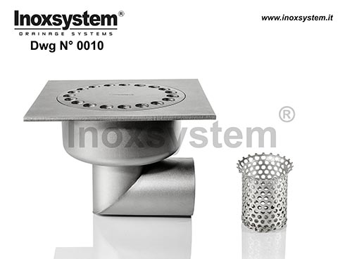 Standard and lowered floor drains with horizontal outlet removable filter basket after siphoning DWG 0010