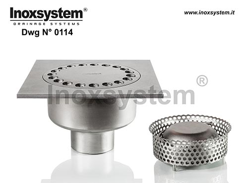 Standard and lowered floor drains with vertical outlet pipe removable filter basket before siphoning DWG 0114