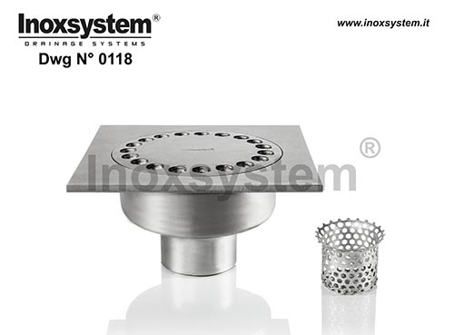 Floor drains with square top, vertical direct outlet and removable odor trap in stainless steel