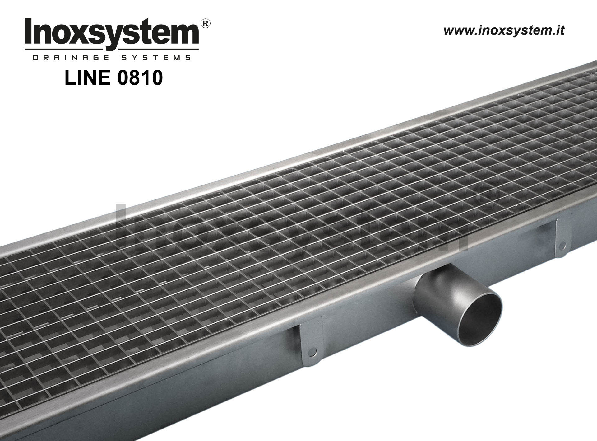 Standard stainless steel grating channel with direct outlet pipe no-siphoned Ø 63 mm and removable filter basket LINE 0810