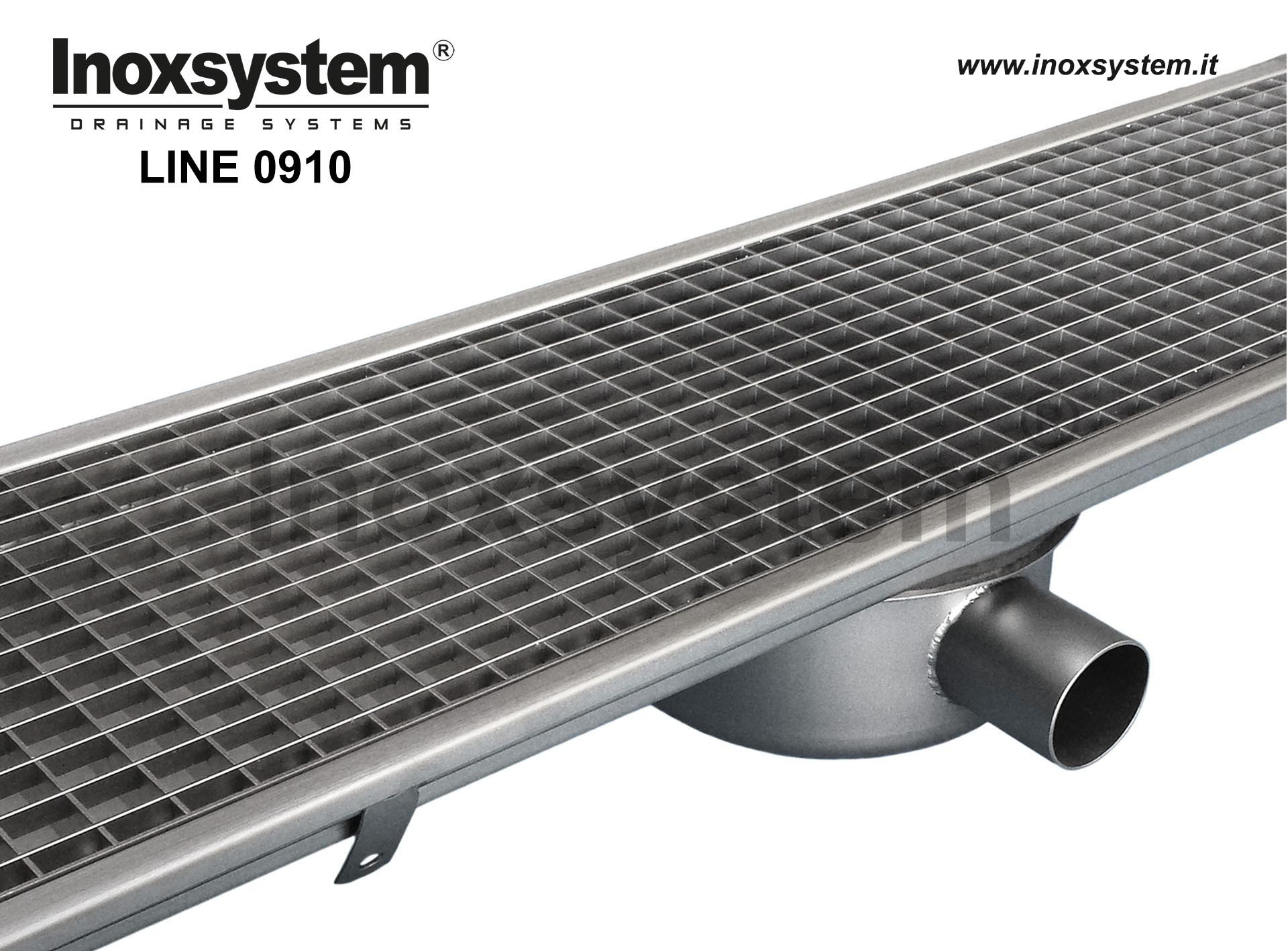 Standard stainless steel grating channel with siphoned outlet pipe Ø 63 mm and removable filter basket LINE 0910