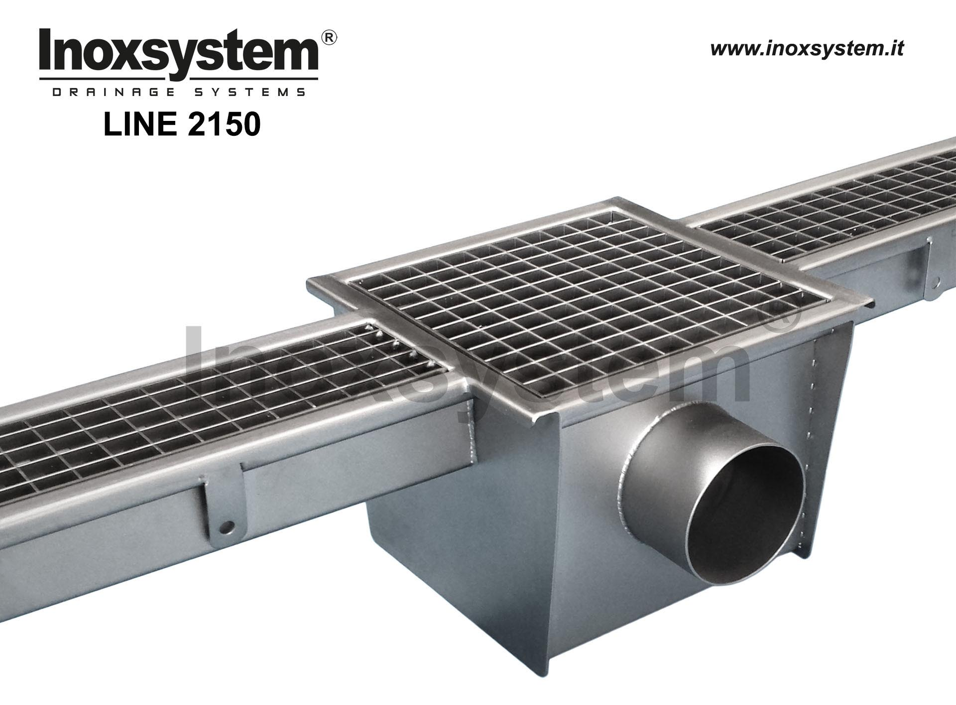 Standard stainless steel grating channel with siphoned outlet and grating cover, outlet pipe Ø 110 mm and removable filter basket LINE 2150