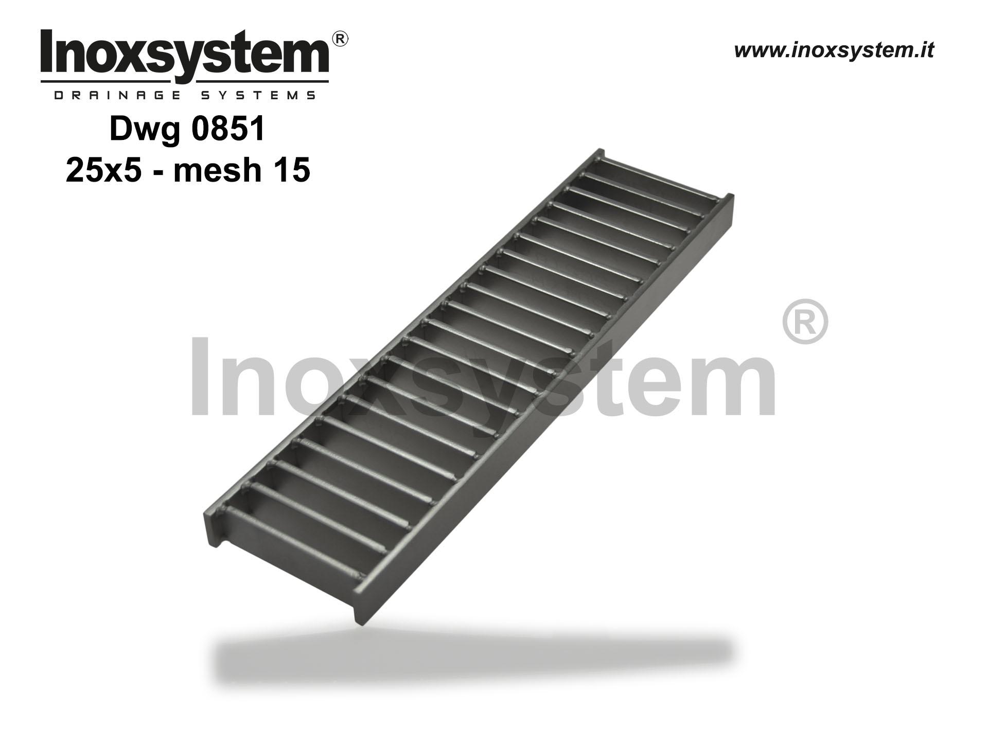 Ladder gratings flat bars 25x8 mesh width 15 in stainless steel