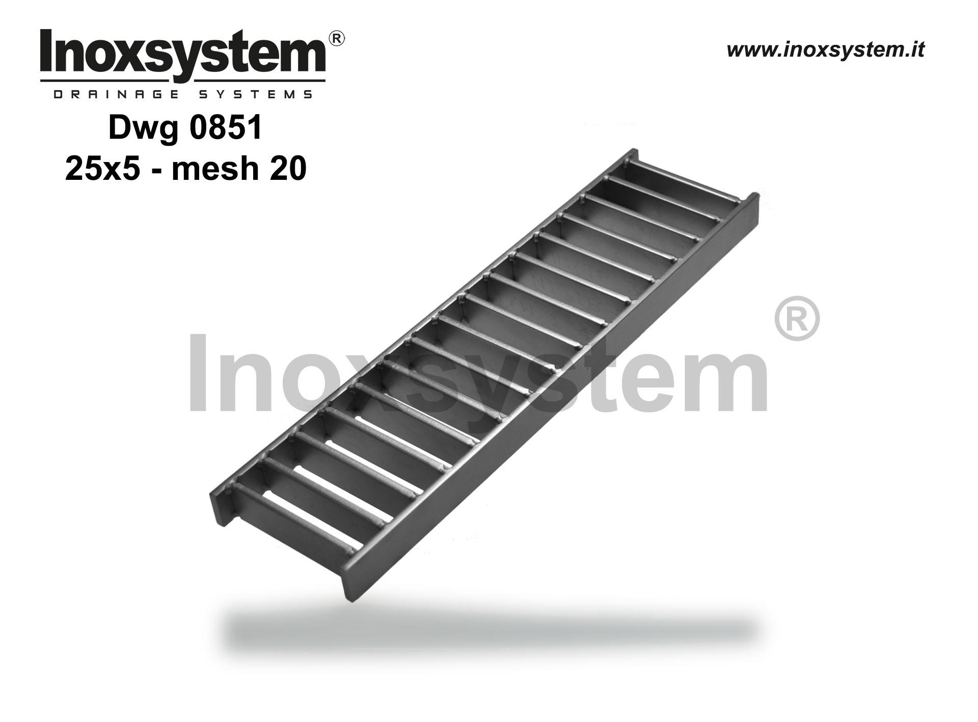 Ladder gratings flat bars 25x8 mesh width 20 in stainless steel