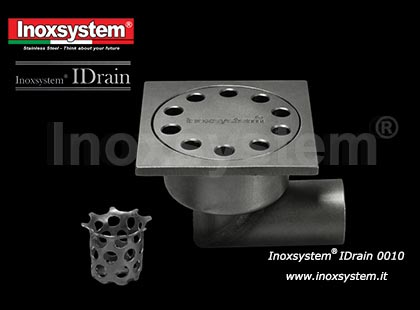 Completely inspectable floor drain with vertical outlet, odor trap and solid cover in stainless steel