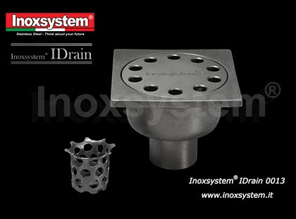 Completely inspectable floor drain with horizontal outlet, odor trap and solid cover in stainless steel