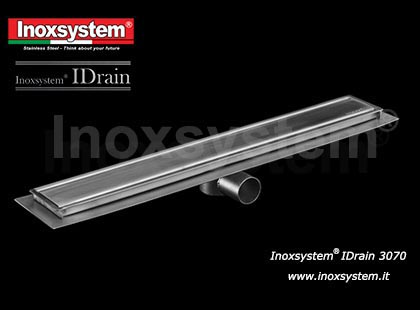 Inoxsystem® IDrain Line 3070 – Linear drain, 100 mm width, with satin finish cover and waterproof membrane holder, removable odor trap and filter