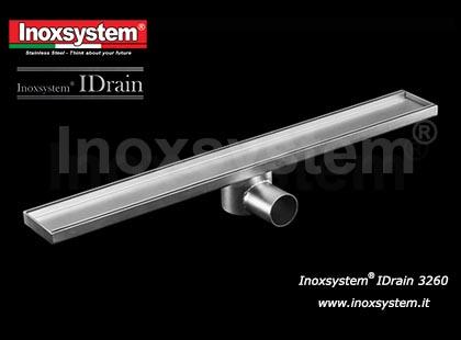Canaletta di drenaggio larghezza mm 84 con copertura satinata, sifone e filtro estraibile