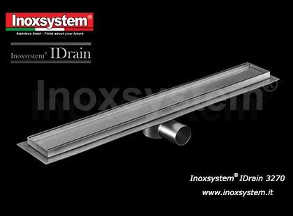 Canaletta di drenaggio larghezza mm 84 con copertura satinata e profilo inferiore, sifone e filtro estraibile in acciaio inox