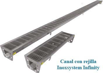 canal con rejilla inoxsystem infinity en acero inoxsidable