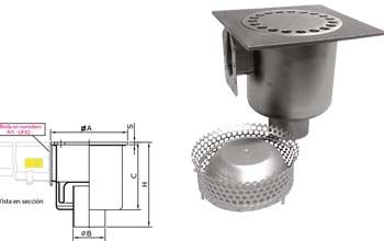 Sumidero con descarga vertical con sifón con filtro que incluye una brida Inoxsystem Infinity
