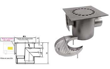 Sumidero con descarga horizontal con sifón con filtro que incluye una brida Inoxsystem Infinity