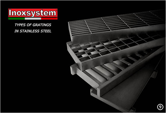 Types of gratings in stainless steel