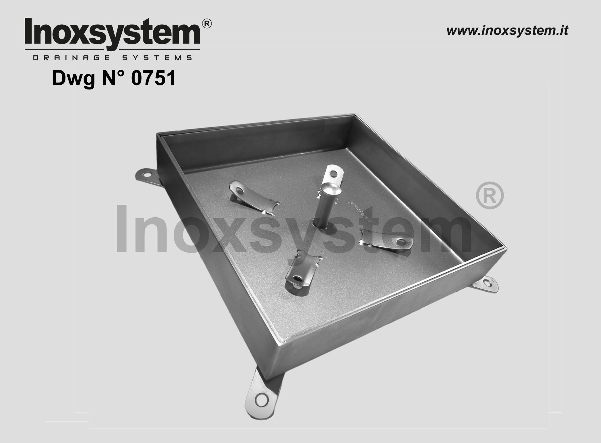 Stainless steel inspection recessed manhole with sub-frame (heavy series) DWG 0751