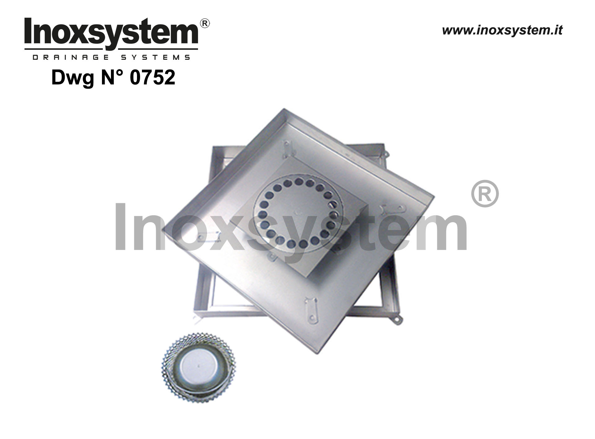 Stainless steel recessed manhole with sub-frame and gully (heavy series) DWG 0752