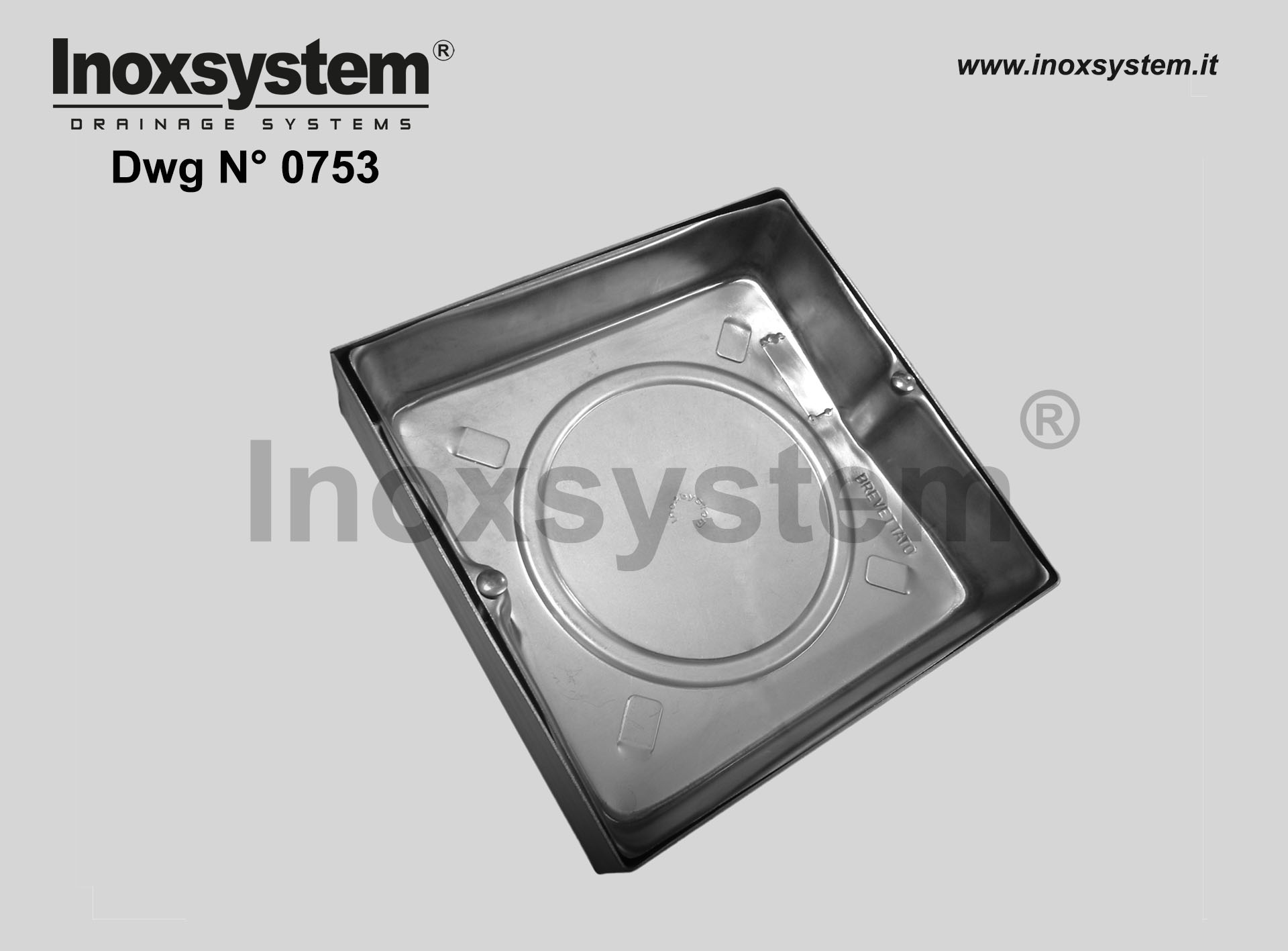 Stainless steel recessed manhole with sub-frame (light series) DWG 0753