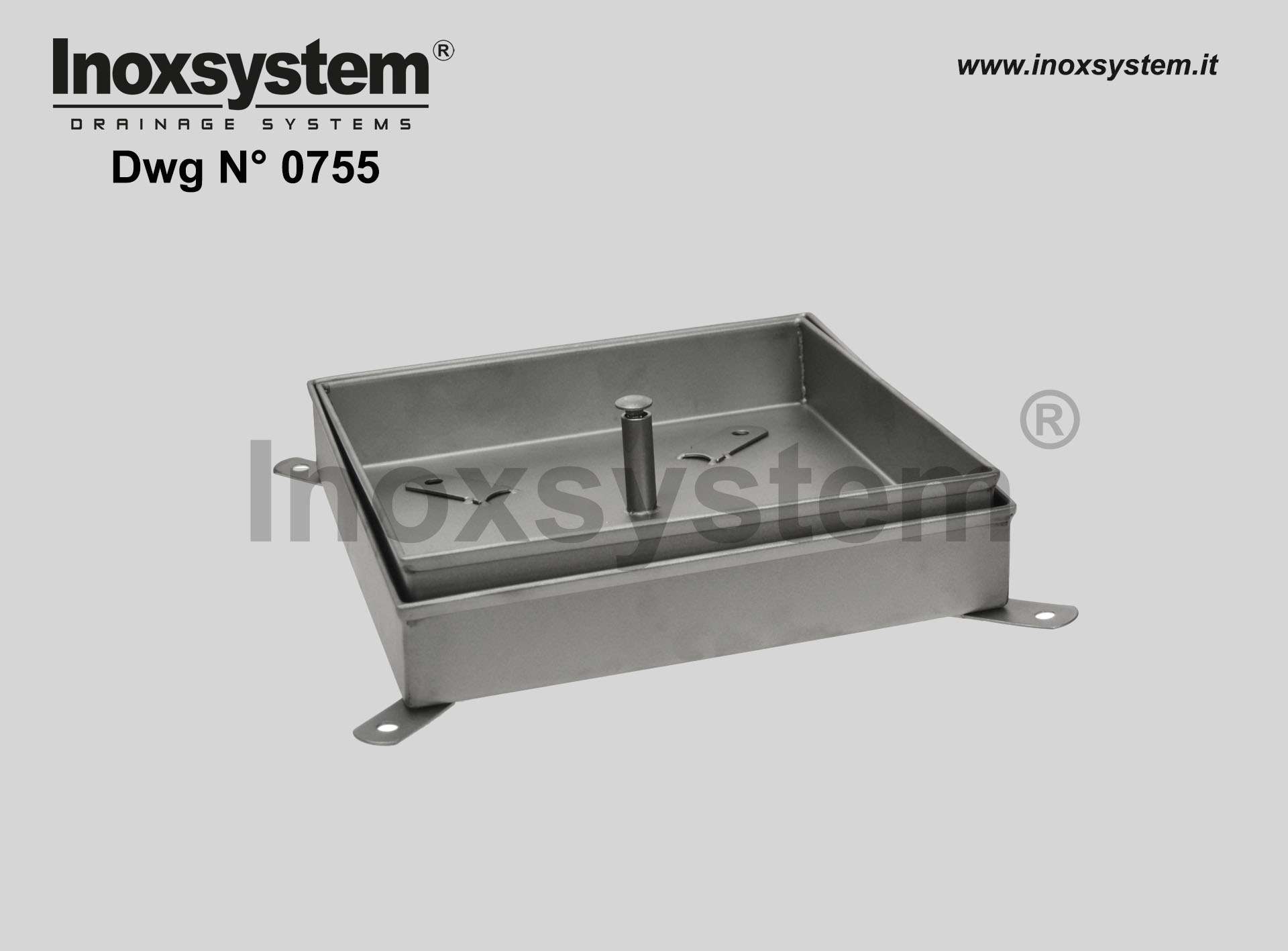 Inspection recessed manhole with sub-frame in stainless steel medium series