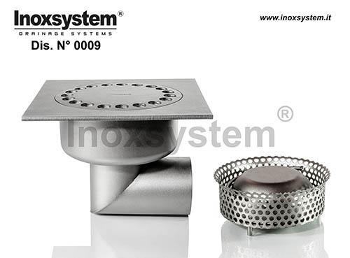 Siphons de sol standards et surbaissés carrés à sortie horizontale, avec panier cloche amovible en acier inoxidable