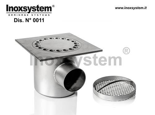 Siphons de sol standards à sortie horizontale avec panier à sec en acier inoxydable
