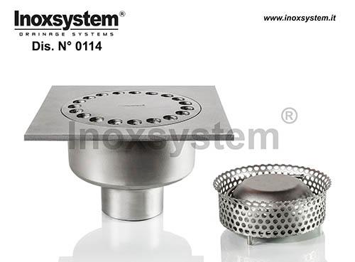 Siphons de sol standards et surbaissés carrés à sortie verticale en acier inoxydable