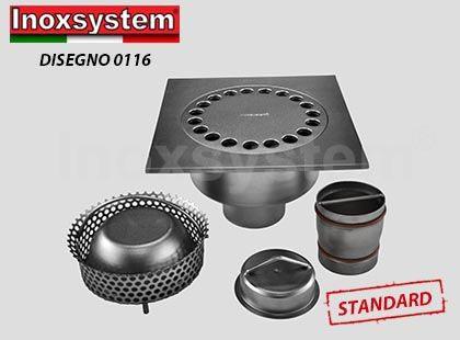 Siphons de sol standards et surbaissés carrés à sortie verticale avec siphon anti-odeurs en acier inoxydable