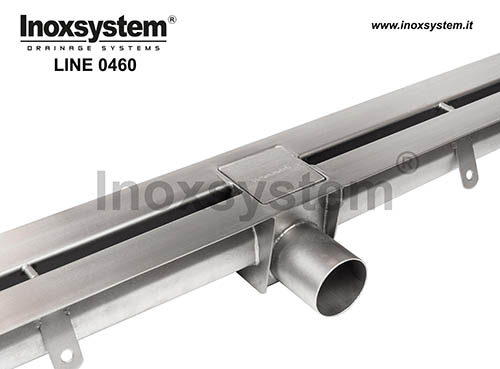 Slot channels with 20 mm standard slot, horizontal edges and INSPECTABLE direct outlet Ø 63 mm  without odor trap. LINE 0460