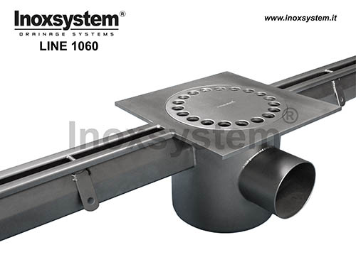 standard stainless steel slot channel with floor drain, siphoned outlet and removable filter basket