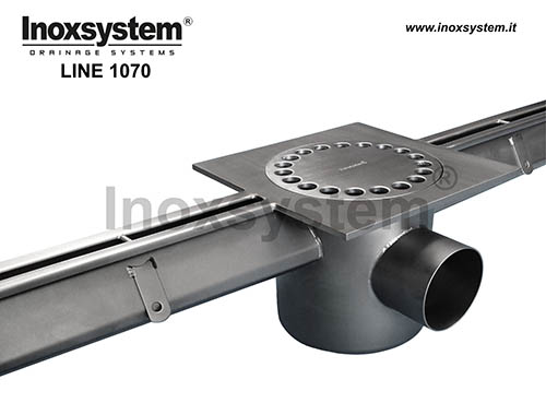 standard stainless steel slot channel with streight edges, increased section, siphoned outlet and removable filter basket