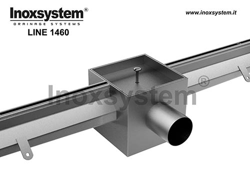 Slot channels wide central slot, tileable cover in stainless steel