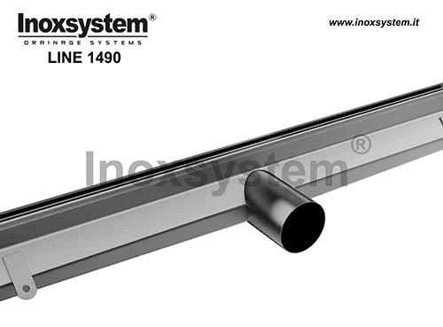 Slot channels, vertical edges and direct outlet in stainless steel
