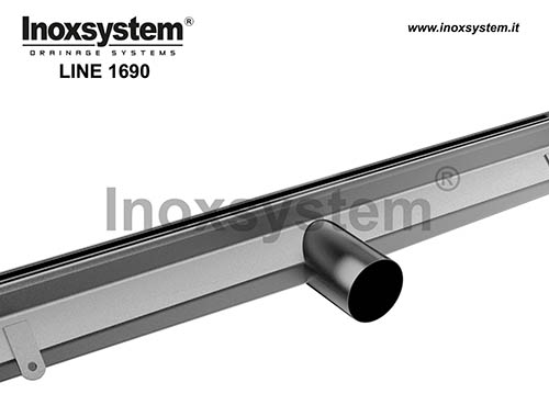 Slot channels with 20/15/8 mm wide offset slot, with vertical edges and direct outlet without odor trap LINE 1690