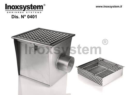 Sumideros en acero inoxidable con rejilla y salida horizontal sifonada con filtro extraíble para grandes flujos