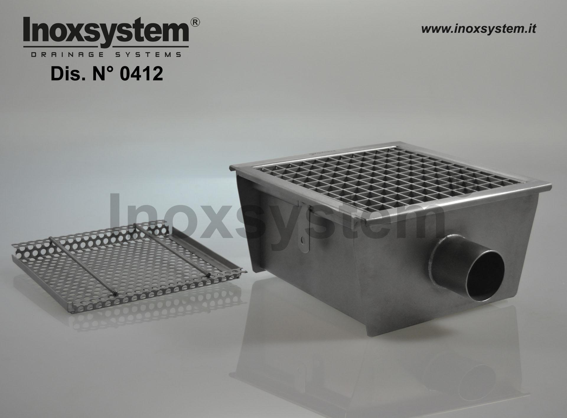 Sumidero en acero inoxidable con rejilla salida horizontal Ø mm 63 sifonado con filtro extraíble