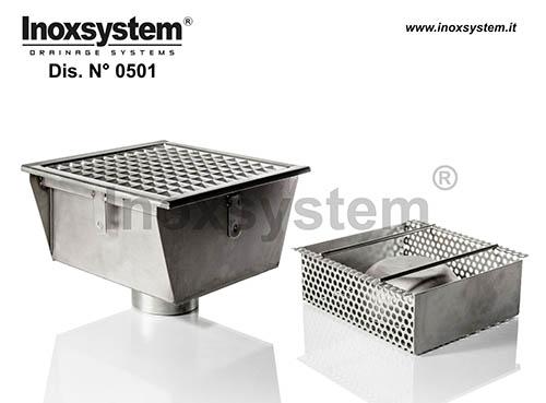 Sumideros en acero inoxidable con rejilla salida vertical sifonada con filtro extraíble para grandes flujos
