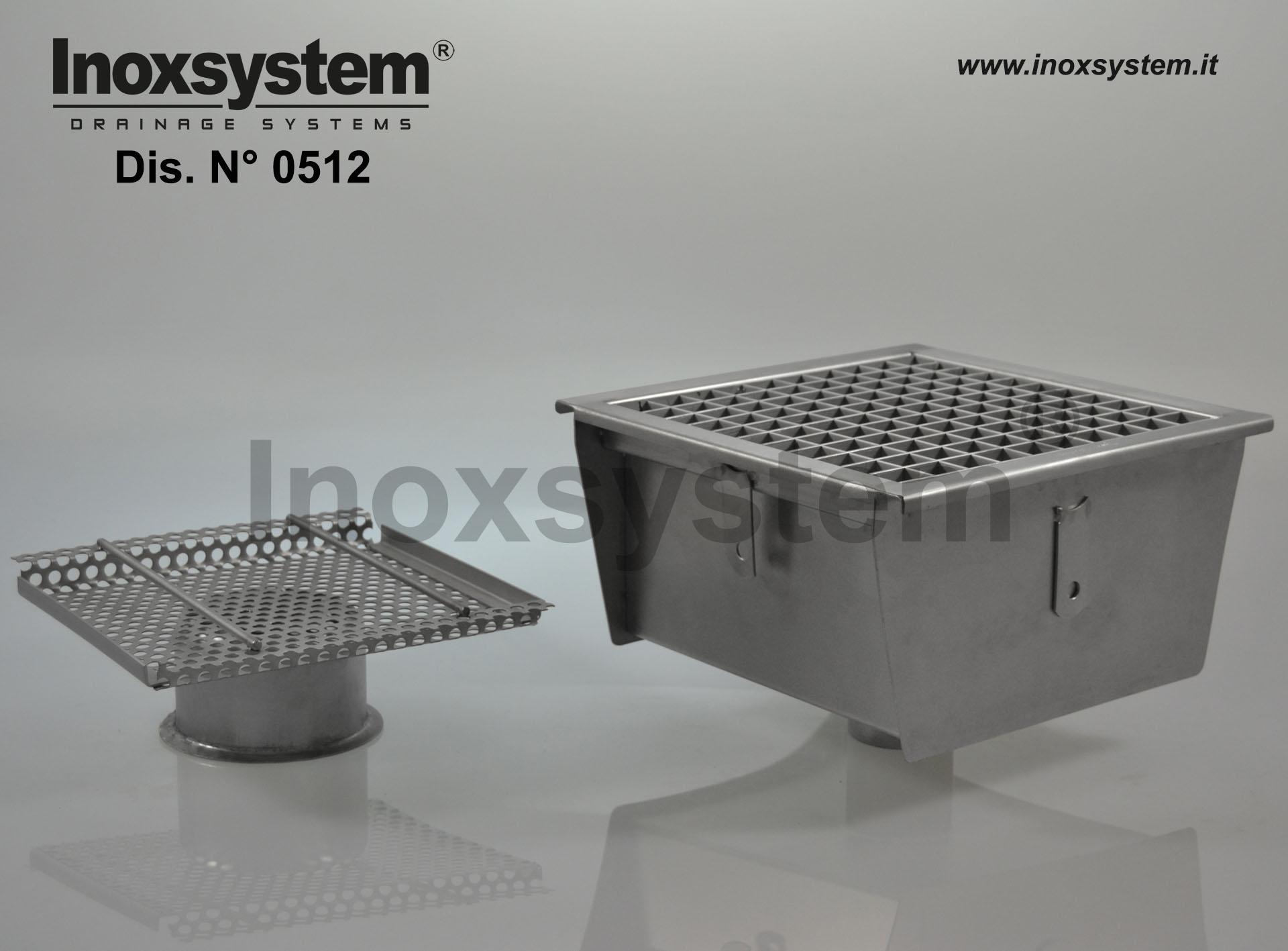 Sumidero en acero inoxidable con rejilla y salida vertical sifonado con filtro extraíble