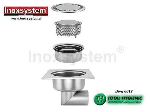 Inoxsystem® Total Hygienic standard and low profile floor drains with horizontal outlet and removable cup-shaped odor trap and filter basket LINE 0012