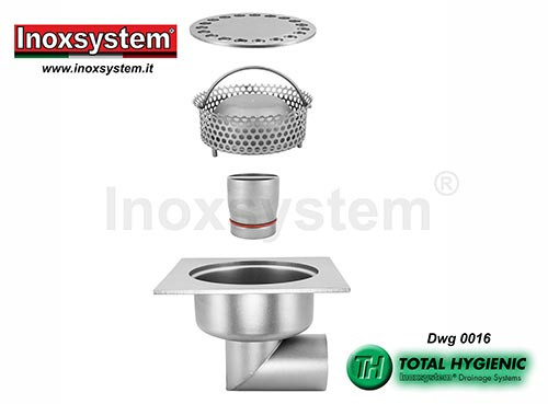 Inoxsystem® Total Hygienic standard and low profile floor drains with horizontal outlet and removable outlet and filter basket LINE 0016