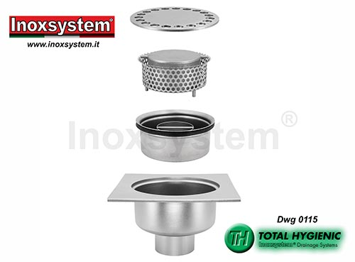 Inoxsystem® Total Hygienic standard and low profile floor drains with vertical outlet and removable cup-shaped odor trap and filter basket LINE 0115